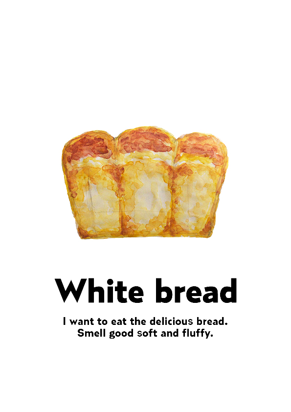 「White Bread」水彩 イラスト