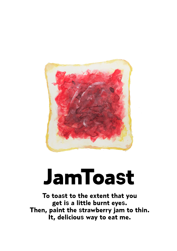 ジャムトースト 水彩イラスト