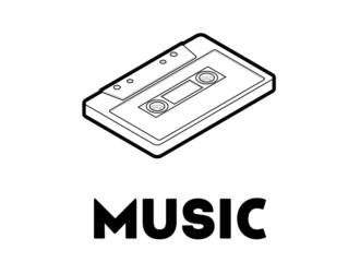 「カセットテープ」イラスト