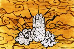 雲と手のイラストレーション