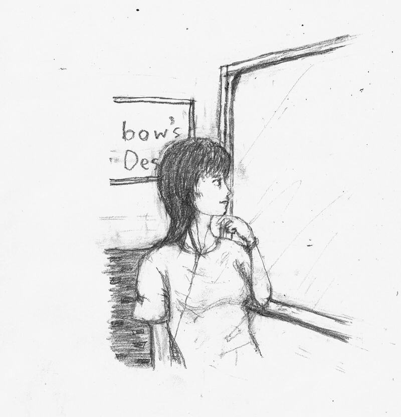外の景色を見る人 イラストレーション