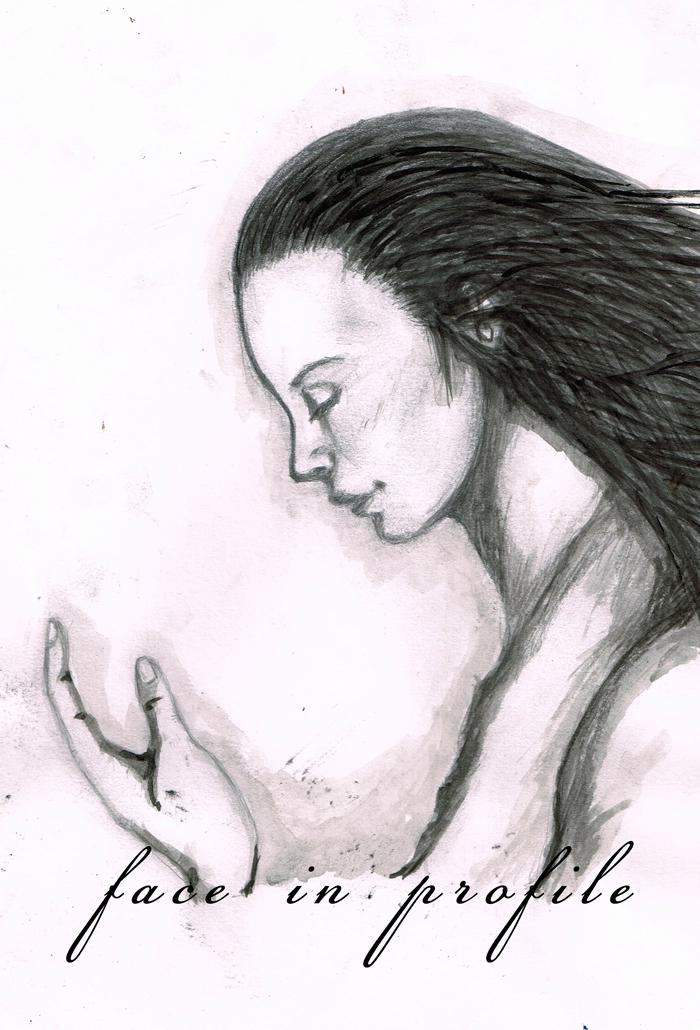 横顔 手描き イラストレーション