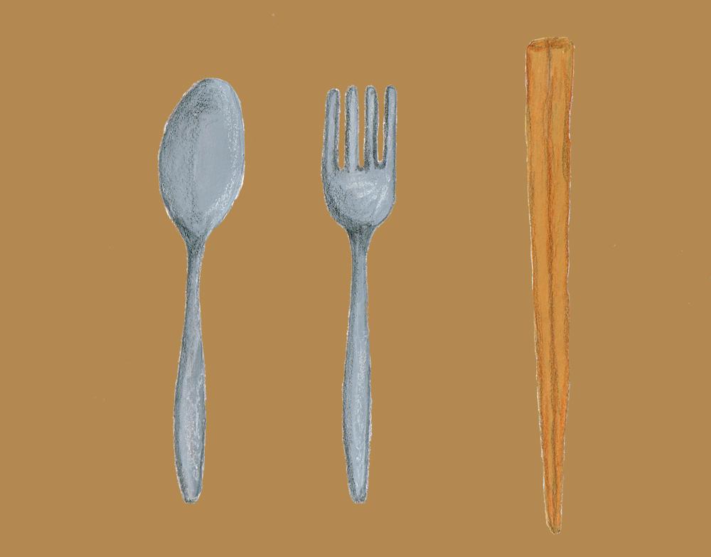 スプーンとフォークとお箸 イラスト