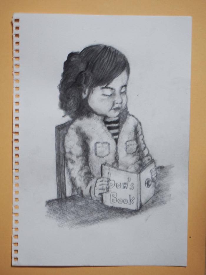 本を読む少女 イラストレーション
