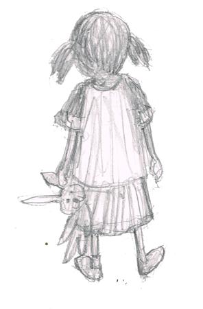 ぬいぐるみを抱く少女 イラスト