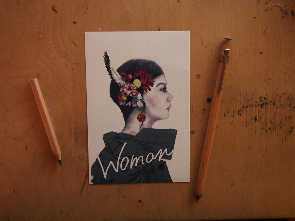 woman postcard 写真