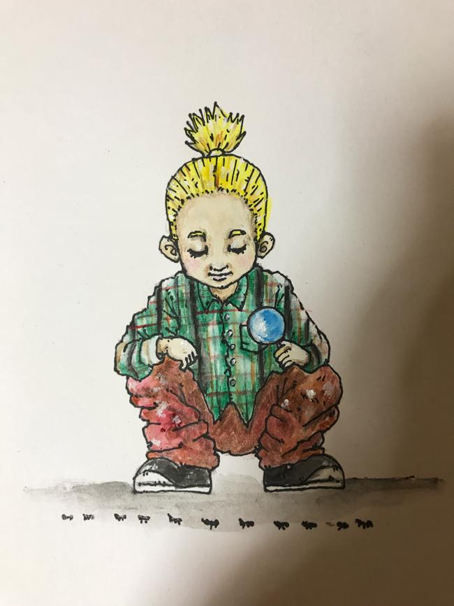 虫眼鏡と男の子のイラストレーション
