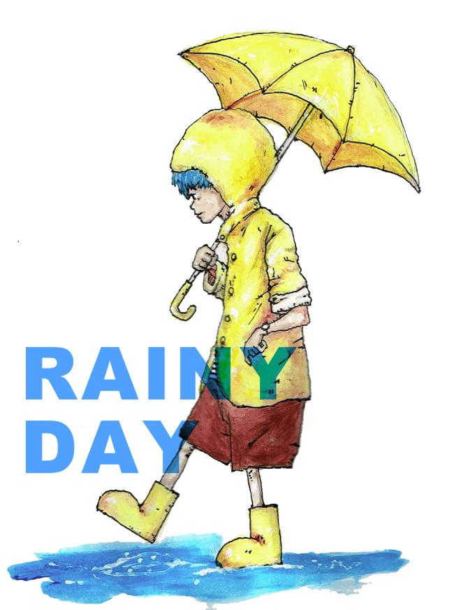 雨の中の男の子 イラスト