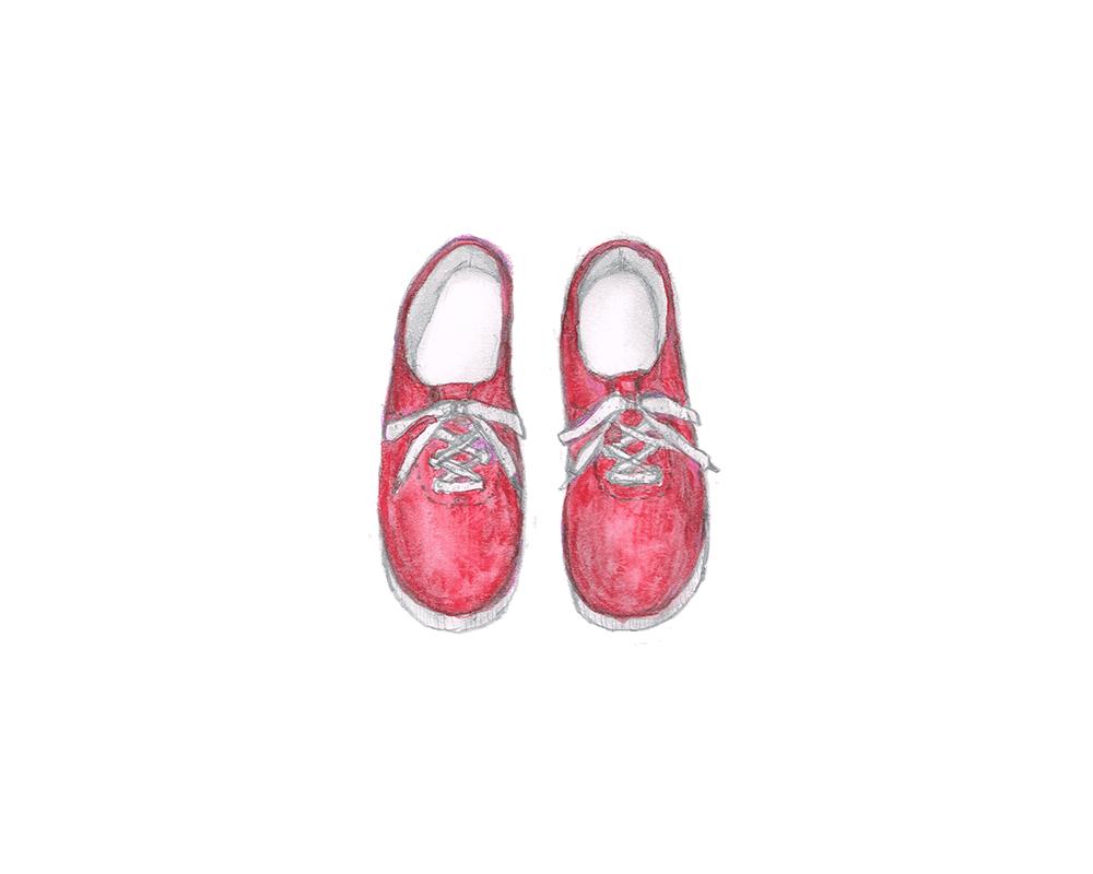 赤いスニーカー イラストレーション