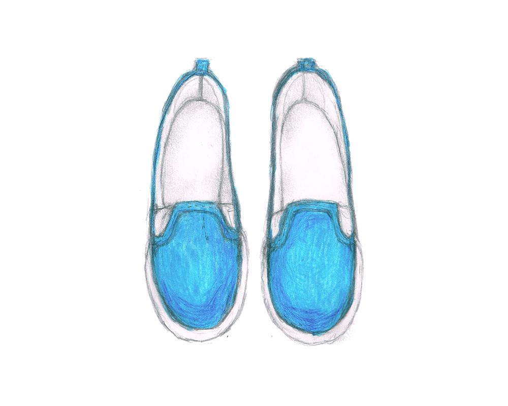 青色のスニーカー