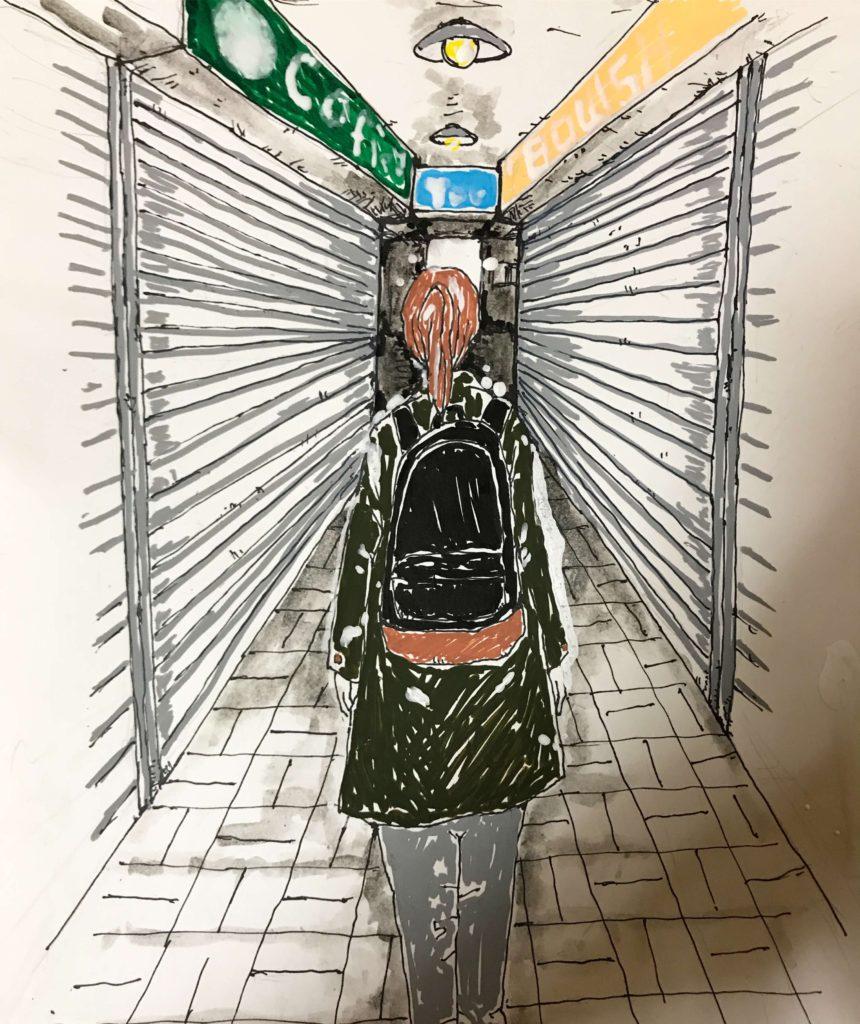 アーケード街 イラストレーション