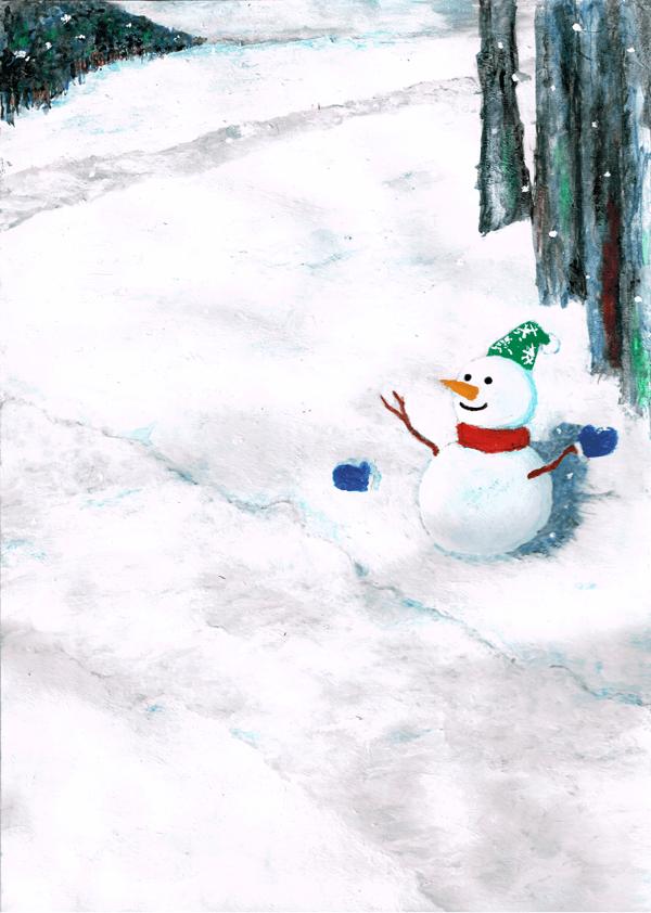 雪だるま イラスト 景色