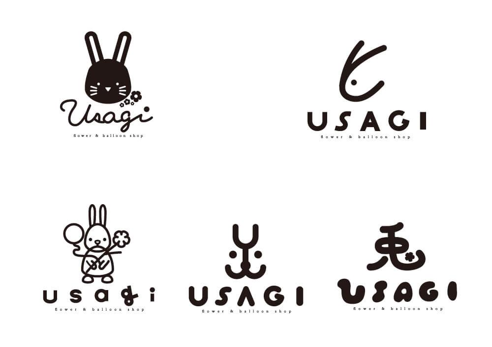 フラワー&バルーンショップ 花空間うさぎ ロゴ
