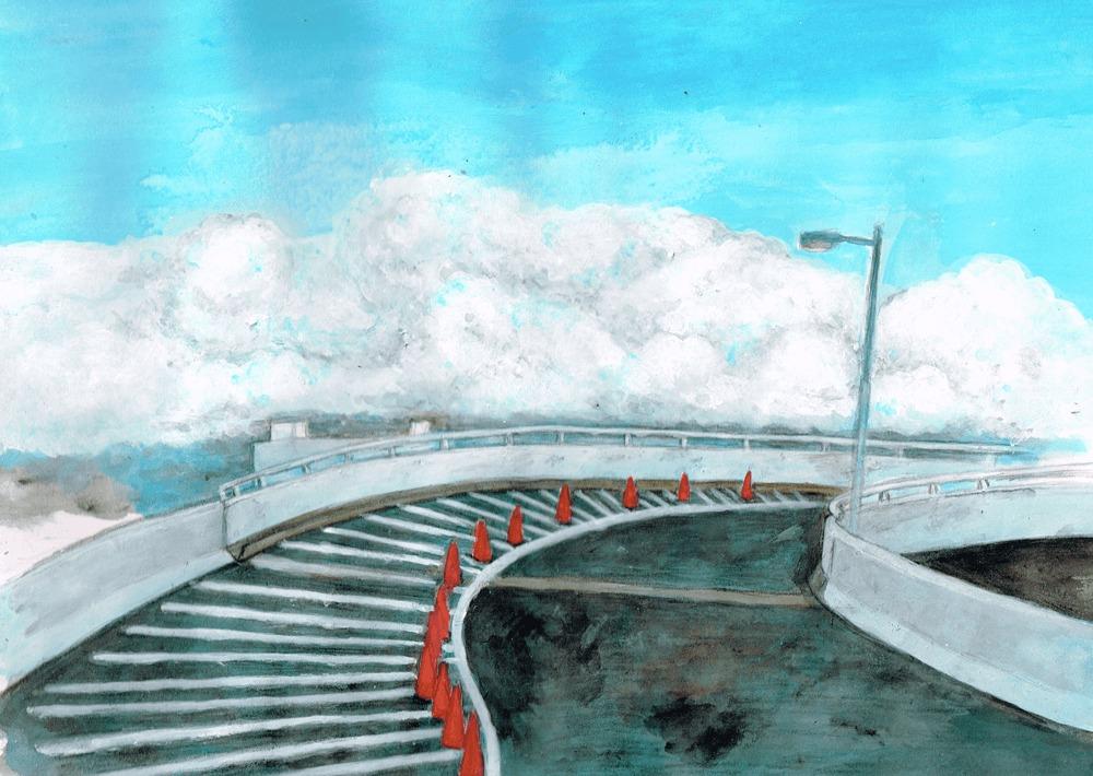ポートアイランド ポートターミナルの景色 イラスト