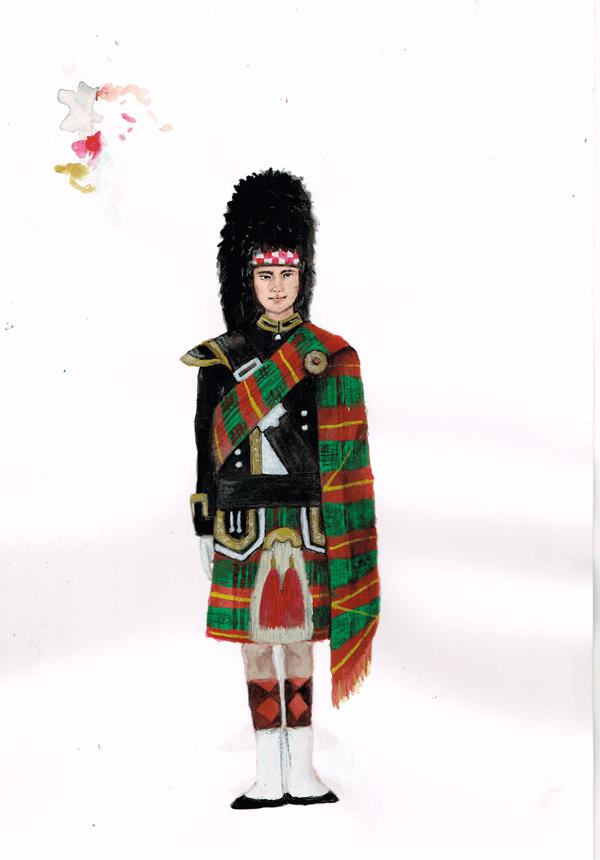 民族衣装 タータンチェック イラスト