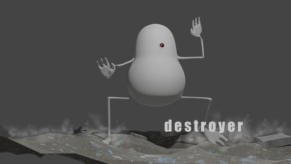 破壊する者 イラスト 3dモデリング